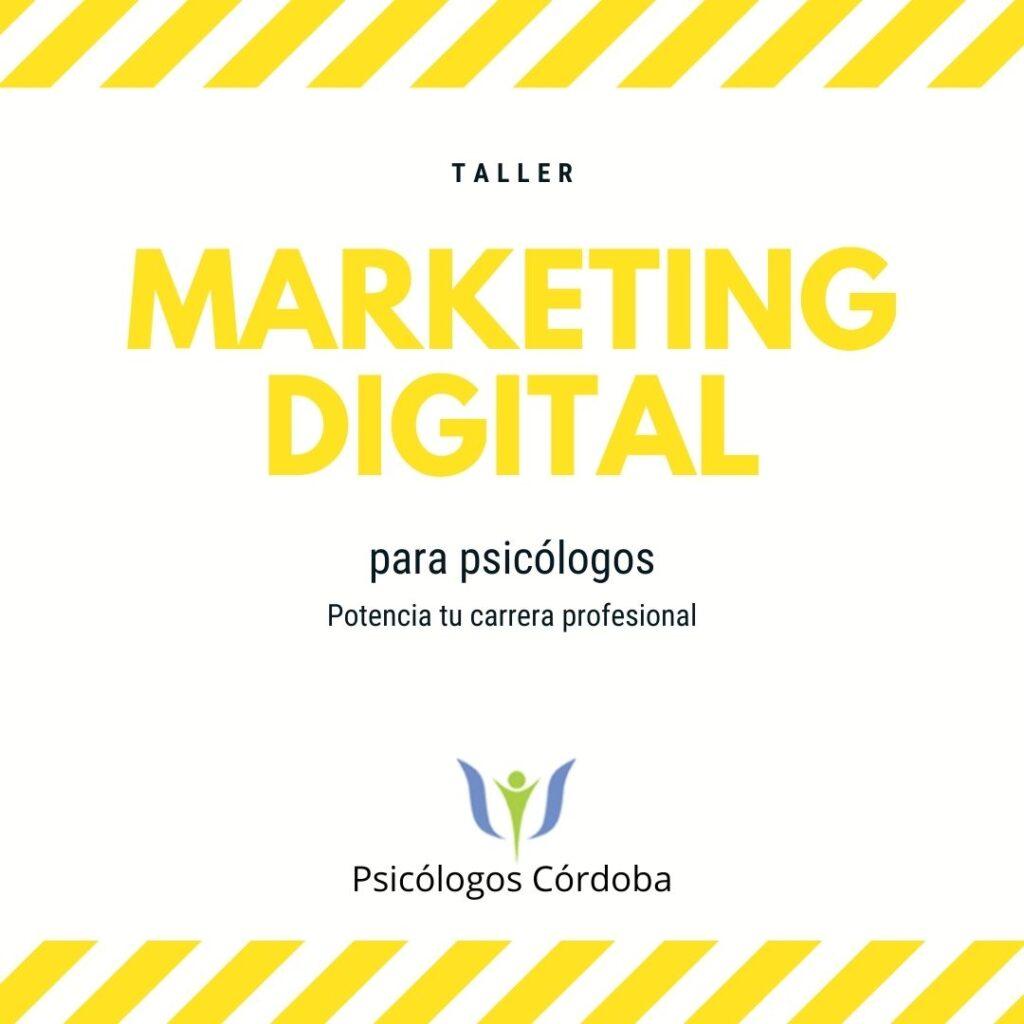 Flyer Taller de Marketing digital para Psicólogos