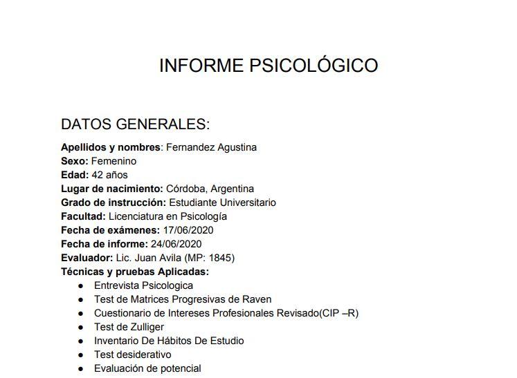 foto de un informe psicológico