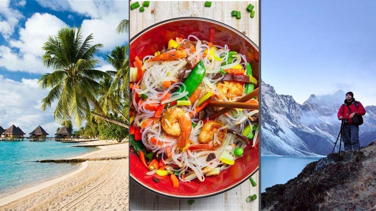 playa, montaña y comida